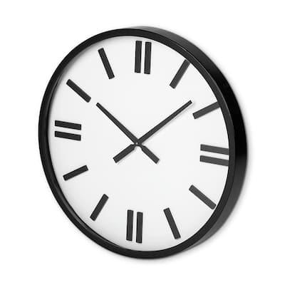 Derby 24 in. Round Oversize Black Modern Analog Wall Clock