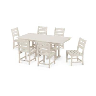 Grant Park Sand 7-Piece Plastic Side Chair Outdoor Dining Set