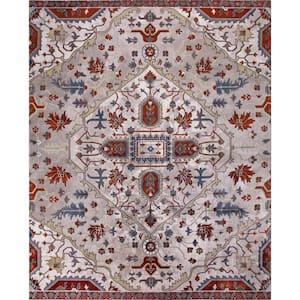 Talya Ivory/Red 7 ft. x 9 ft. Medallion Area Rug