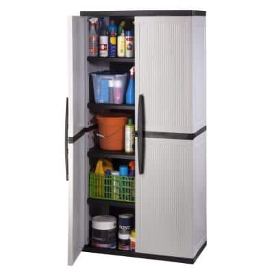 Plastic Freestanding Garage Cabinet in Gray (35 in. W x 71 in. H x 18 in. D)