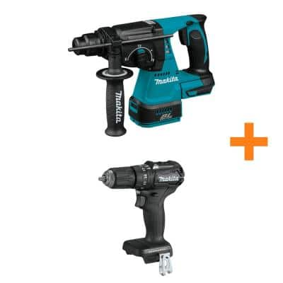 Makita 18-Volt LXT Lithium-Ion Brushless 1in. Rotary Hammer, accepts SDS-PLUS bits w/ Bonus 18V LXT 1/2 in. Hammer Driver Drill