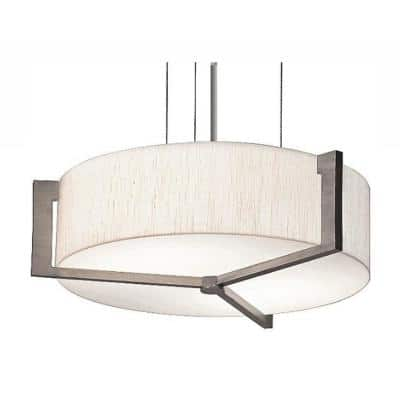 Apex 42-Watt Integrated LED Weathered Grey Pendant with Fabric Shade