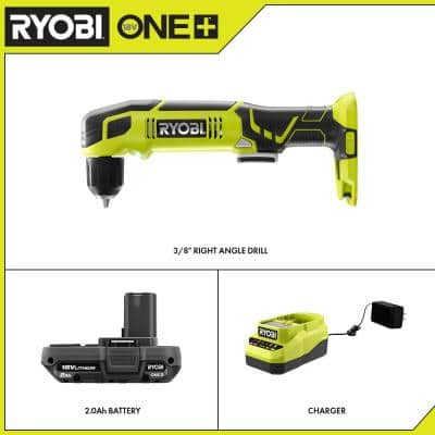 ONE+ 18V Cordless 3/8 in. Right Angle Drill with 2.0 Ah Battery and Charger