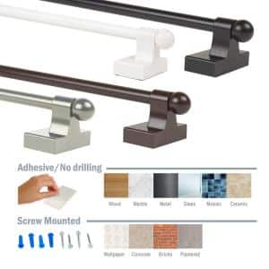 7/16 Inch Self-adhesive or Wall-mounted Adjustable Rod 17-30 inch long (Set of 4) - Satin Nickel