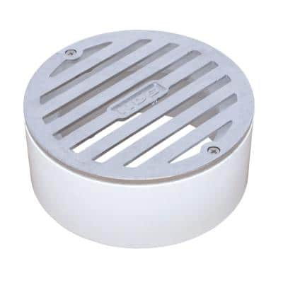 4 in. Chrome Round Drainage Grate with PVC Collar