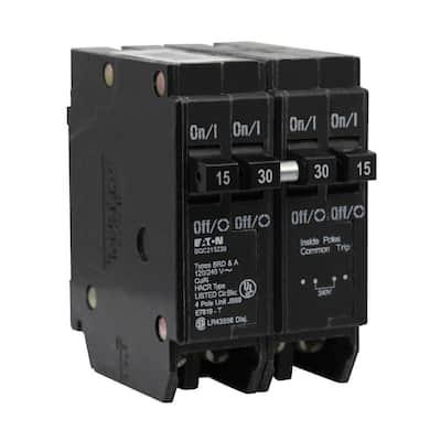 BR 1-15 Amp 2 Pole and 1-30 Amp 2 Pole BQC (Common Trip) Quad Circuit Breaker