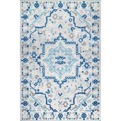 Rashida Modern Celestial Blue 8 ft. x 10 ft. Indoor/Outdoor Area Rug