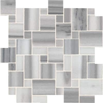 Bergamo Magic 11.69 in. x 11.69 in. x 10 mm Polished Marble Mosaic Tile (10 sq. ft. / case)