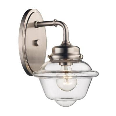 Smith 1-Light Brushed Nickel Wall Sconce with Clear Glass Shade