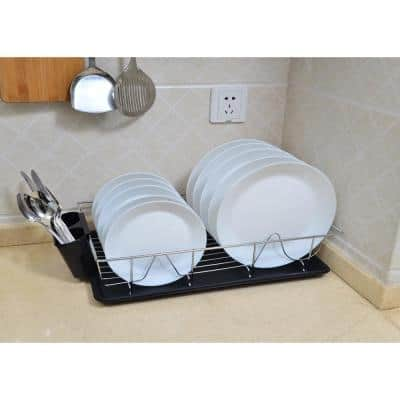 3-Piece Black Chrome Dish Rack with Tray