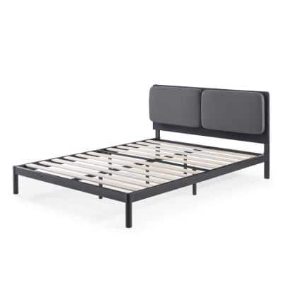 Avery Dark Grey Queen Platform Bed with Reclining Headboard