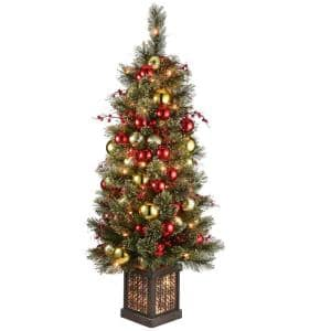4 ft. Dakota Pine Artificial Christmas Entrance Tree in Brown Rectangular Pot with Clear Lights