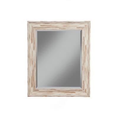 Medium Rectangle White Beveled Glass Mirror (30 in. H x 36 in. W)