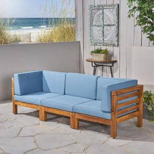 Oana Teak Brown 3-Piece Wood Outdoor Sofa with Blue Cushions