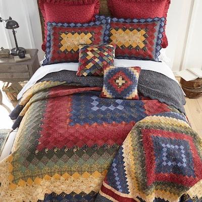 Chesapeake Trip 3-Piece Gold Cotton Queen Quilt Set