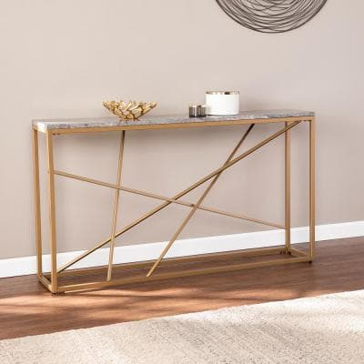 Salla 52 in. Gold/Gray Faux Marble Standard Rectangle Composite Console Table