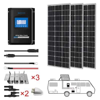 300-Watt Monocrystalline OffGrid Solar Power Kit with 3 x 100-Watt Solar Panel, 30 Amp MPPT Charge Controller