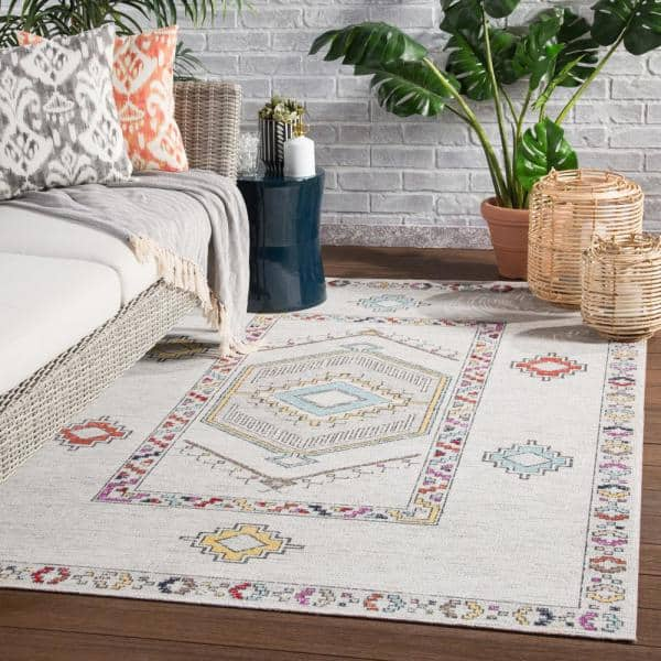 Jaipur Living Tov Light Gray Multicolor 7 Ft 6 In X 9 Ft 6 In Medallion Indoor Outdoor Area Rug Rug140972 The Home Depot