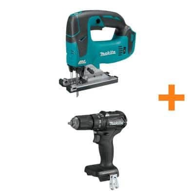 Makita 18-Volt LXT Lithium-Ion Brushless Cordless Jig Saw (Tool Only) w/ Bonus 18V LXT Brushless 1/2 in. Hammer Driver Drill