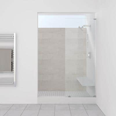 12.75 in. x 80 in. Frameless Fixed Glass Shower Door in Brushed Nickel Finish