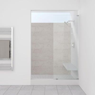 13.5 in. x 76 in. Frameless Fixed Glass Shower Door in Chrome Finish