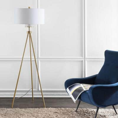 Enrica 66 in. Brass/Gold Triangle Floor Lamp with Off-White Shade
