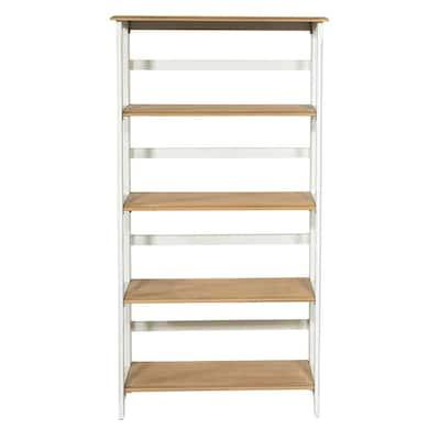 Medford 60 in. White Distressed Wood 5-Shelf Bookcase