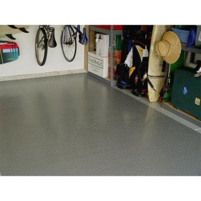 7.5 ft. x 14 ft. Pewter Textured PVC Small Car Mat
