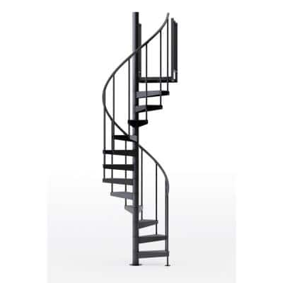 Condor Black Interior 42in Diameter, Fits Height 102in - 114in, 2 36in Tall Platform Rails Spiral Staircase Kit