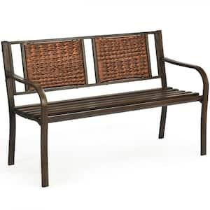 50 in. Porch Rattan Metal Outdoor Bench
