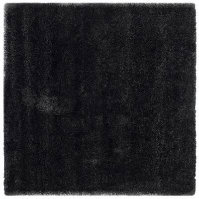 California Shag Black 4 ft. x 4 ft. Square Area Rug