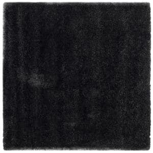 California Shag Black 7 ft. x 7 ft. Square Area Rug