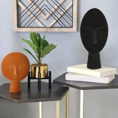 Orange Modern Oval Tribal Velvet Mask Statue