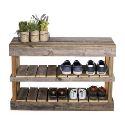 Reclaimed Barnwood Natural Shoe Rack Bench