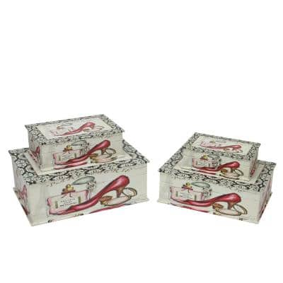 13.75 in. Vintage Style French Fashion Decorative Wooden Storage Boxes (Set of 4)