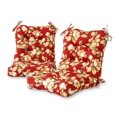 Roma Floral 21 in. x 42 in. Outdoor Dining Chair Cushion (2-Pack)