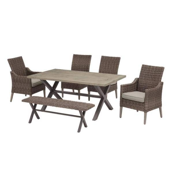Hampton Bay Rock Cliff 6 Piece Brown, All Weather Wicker Patio Dining Sets