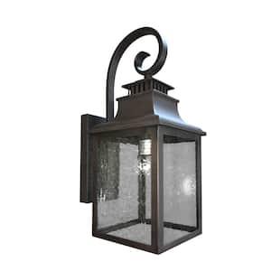 Morgan 1-Light Rustic Bronze Outdoor Wall Lantern Sconce