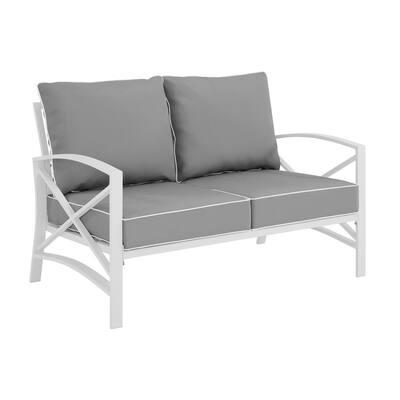 Kaplan White Metal Outdoor Loveseat with Grey Cushion