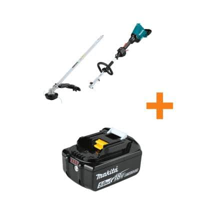 18V X2 (36V) LXT Brushless Cordless Couple Shaft Power Head with Trimmer Attachment with Bonus 18V LXT 5.0Ah Battery