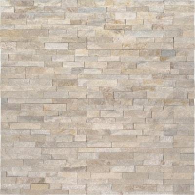 Arctic Golden Mini Ledger Panel 4 in. x 4 in. Natural Quartzite Wall Tile Sample (0.11 sq. ft.)
