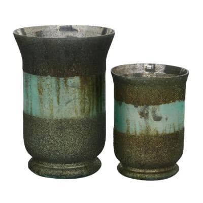 Green Glass Rustic Candle Holder (Set of 2)