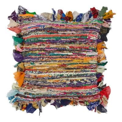 Bright Multi-color Abstract Fringed Soft Poly-fill 26 in. x 26 in. Throw Pillow