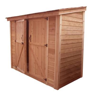 Spacesaver 8 ft. x 4 ft. Western Red Cedar Double Door Storage Shed