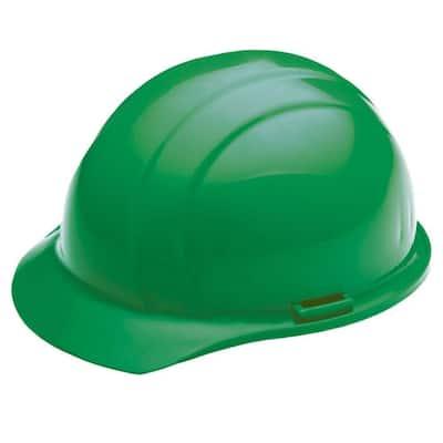4 Point Plastic Suspension Slide-Lock Cap Hard Hat in Green