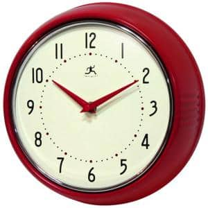 9-1/2 in. Red Retro Round Metal Wall Clock