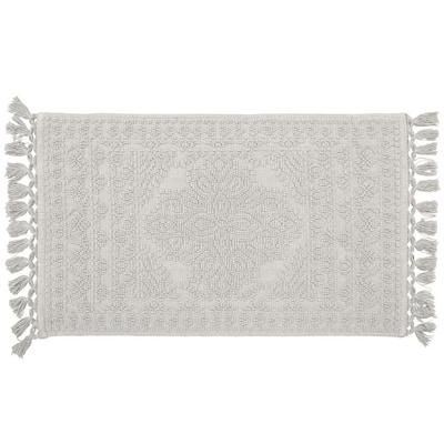 Nellore Light Grey 20 x 34 in. Fringe Cotton Bath Rug