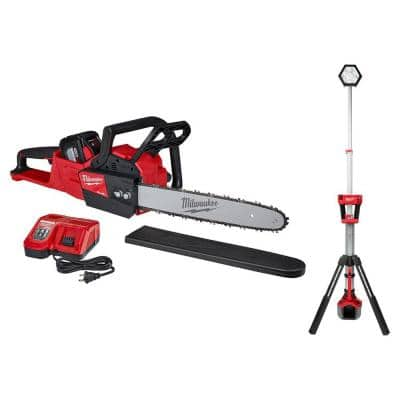 M18 FUEL 16 in. 18-Volt Lithium-Ion Battery Brushless Cordless Chainsaw Kit and Tower Light Combo Kit (2-Tool)