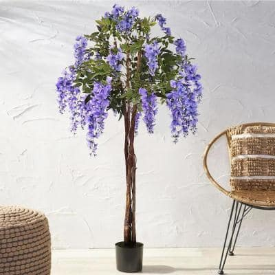 6 ft. Artificial Wisteria Flower Tree in Pot