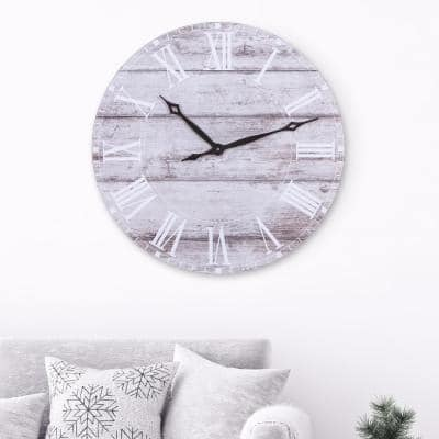 30 in. Frameless Rustic White Washed Wood Plank Wall Clock